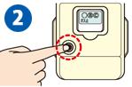 マイコンメーターの復帰ボタンを押してガス止の文字を消します。
